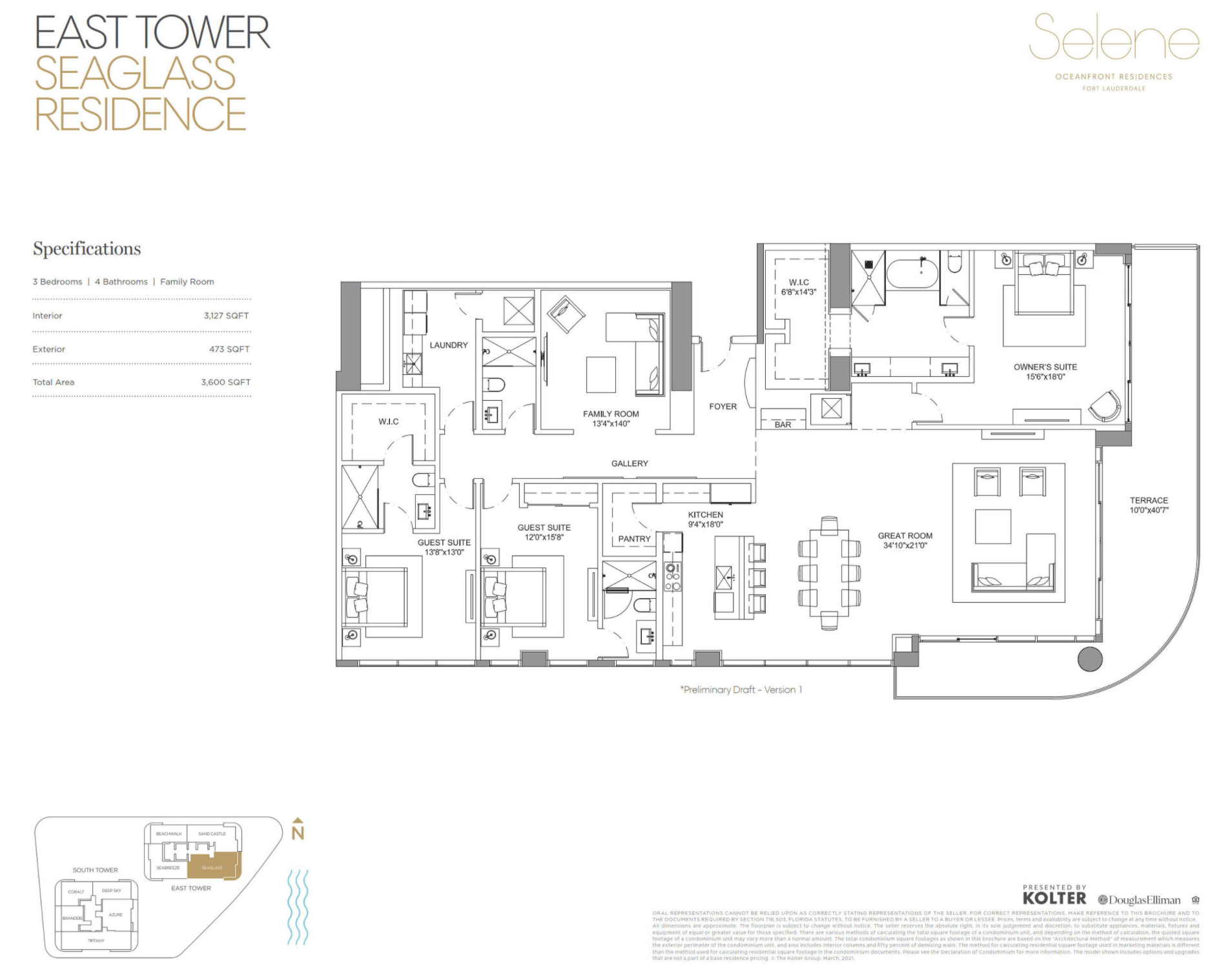 East Tower | Seaglass | 3 Be / 4 Ba / Family Room