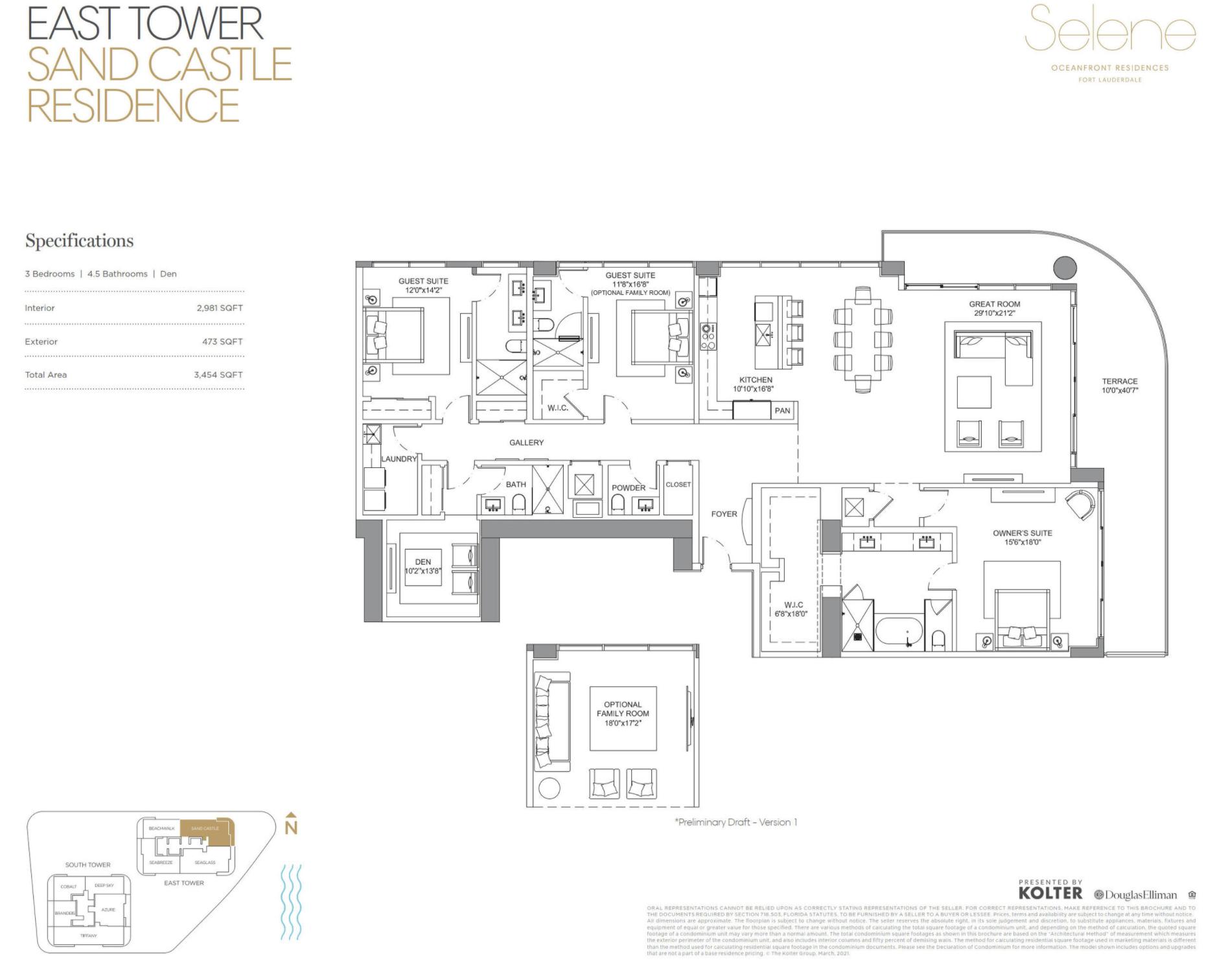 East Tower | Sand Castle| 3 Be / Den | 4.5 Ba