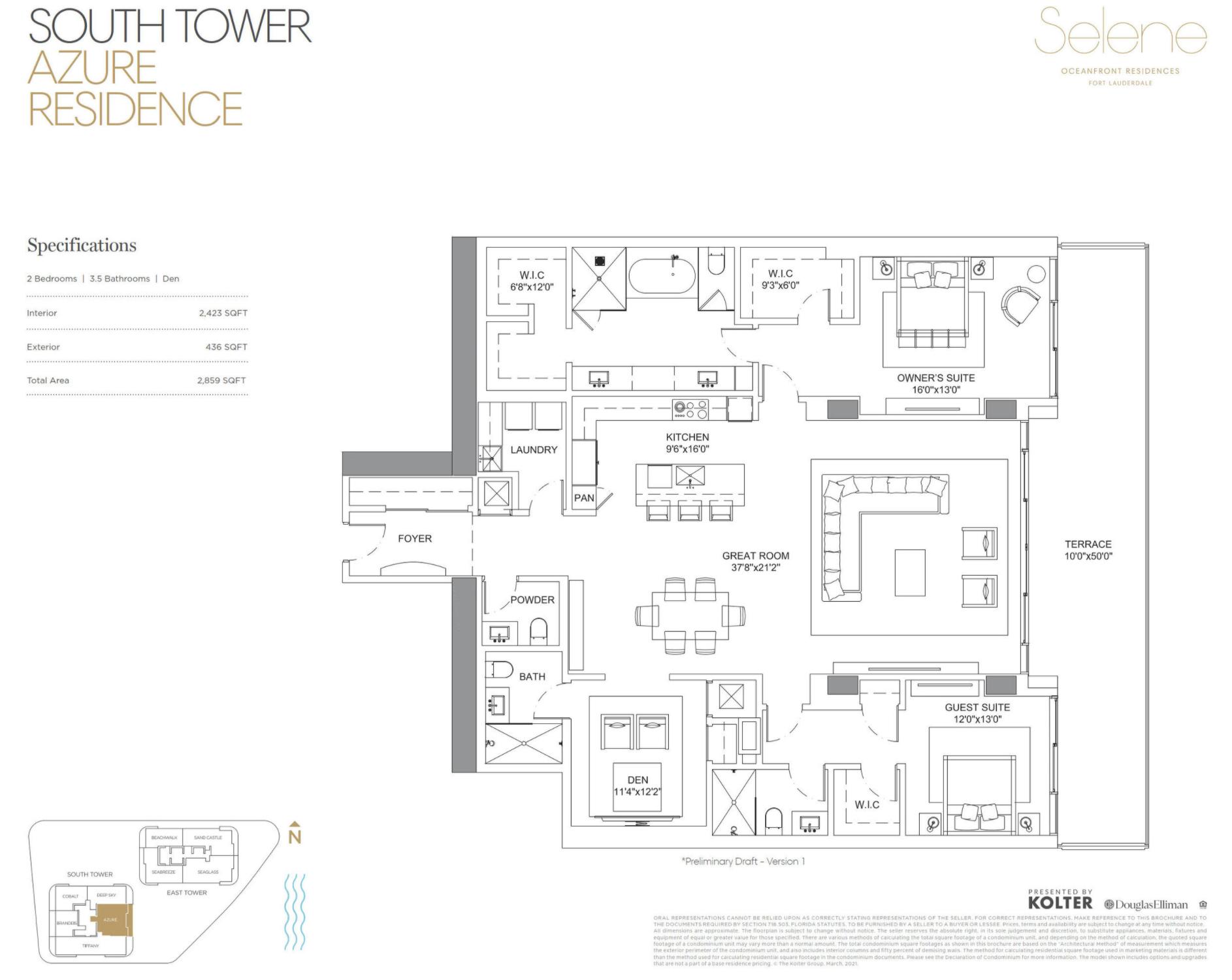 South Tower | Azure | 2 Be / Den / 3.5 Ba