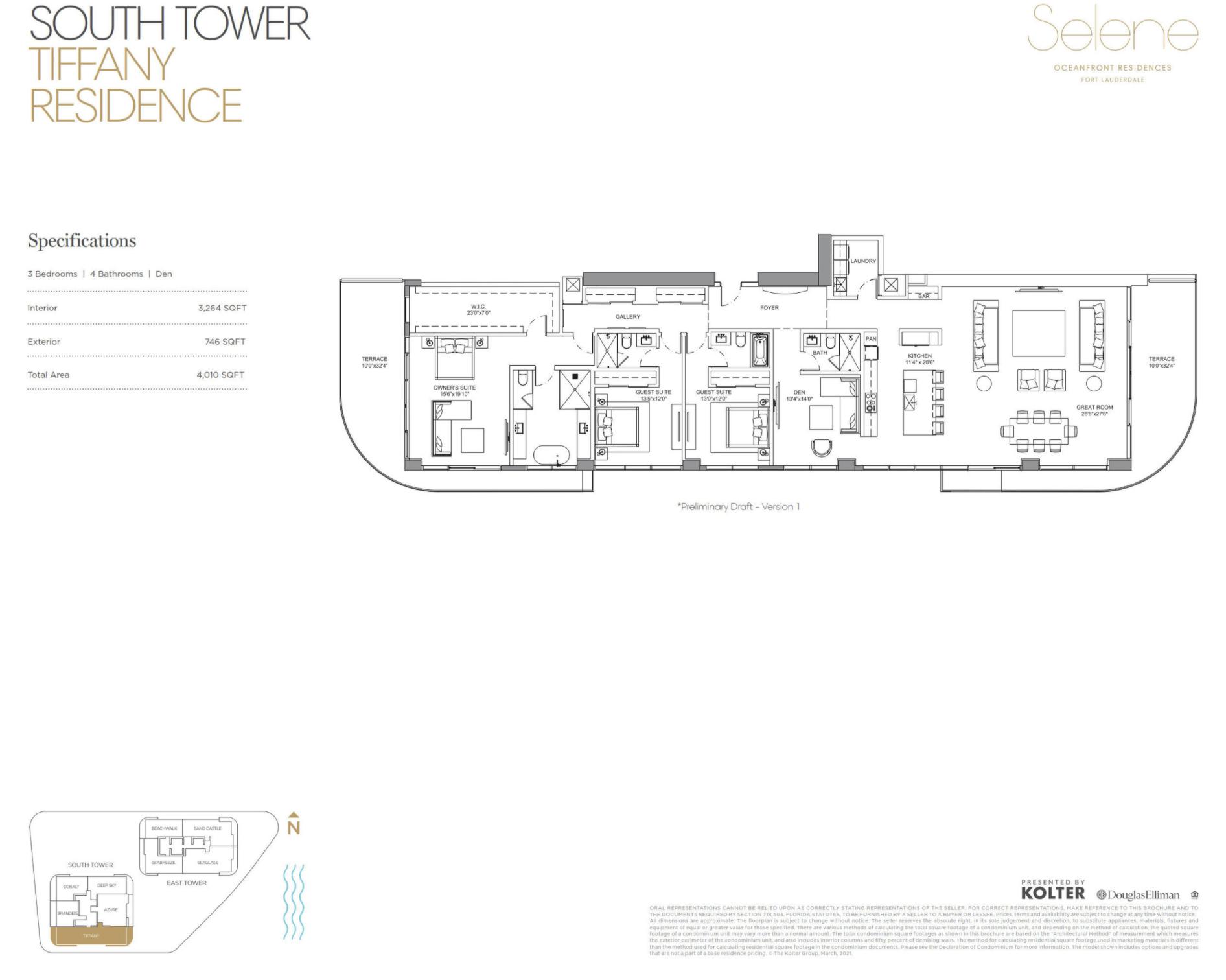 South Tower | Tiffany | 3 Be / Den | 4 Ba