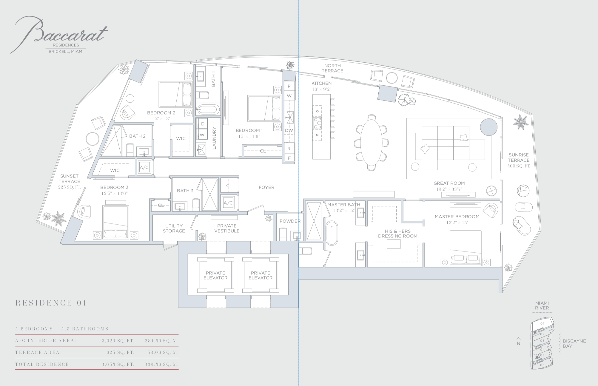 Baccarat | Residence 01 | 4 Bedrooms| 3,029 SF