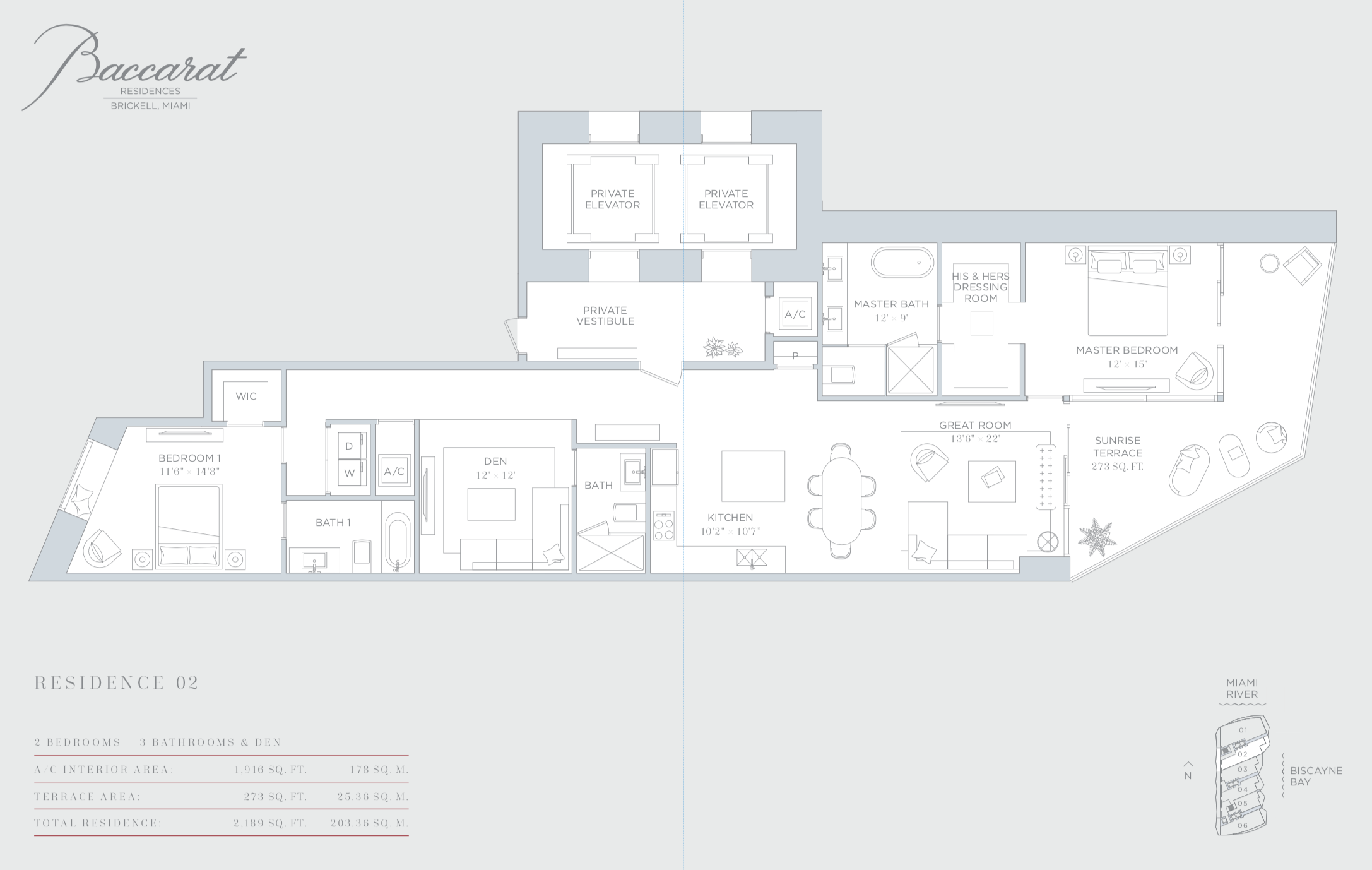 Baccarat | Residence 02 | 2 Bedrooms + Den | 1,916 SF
