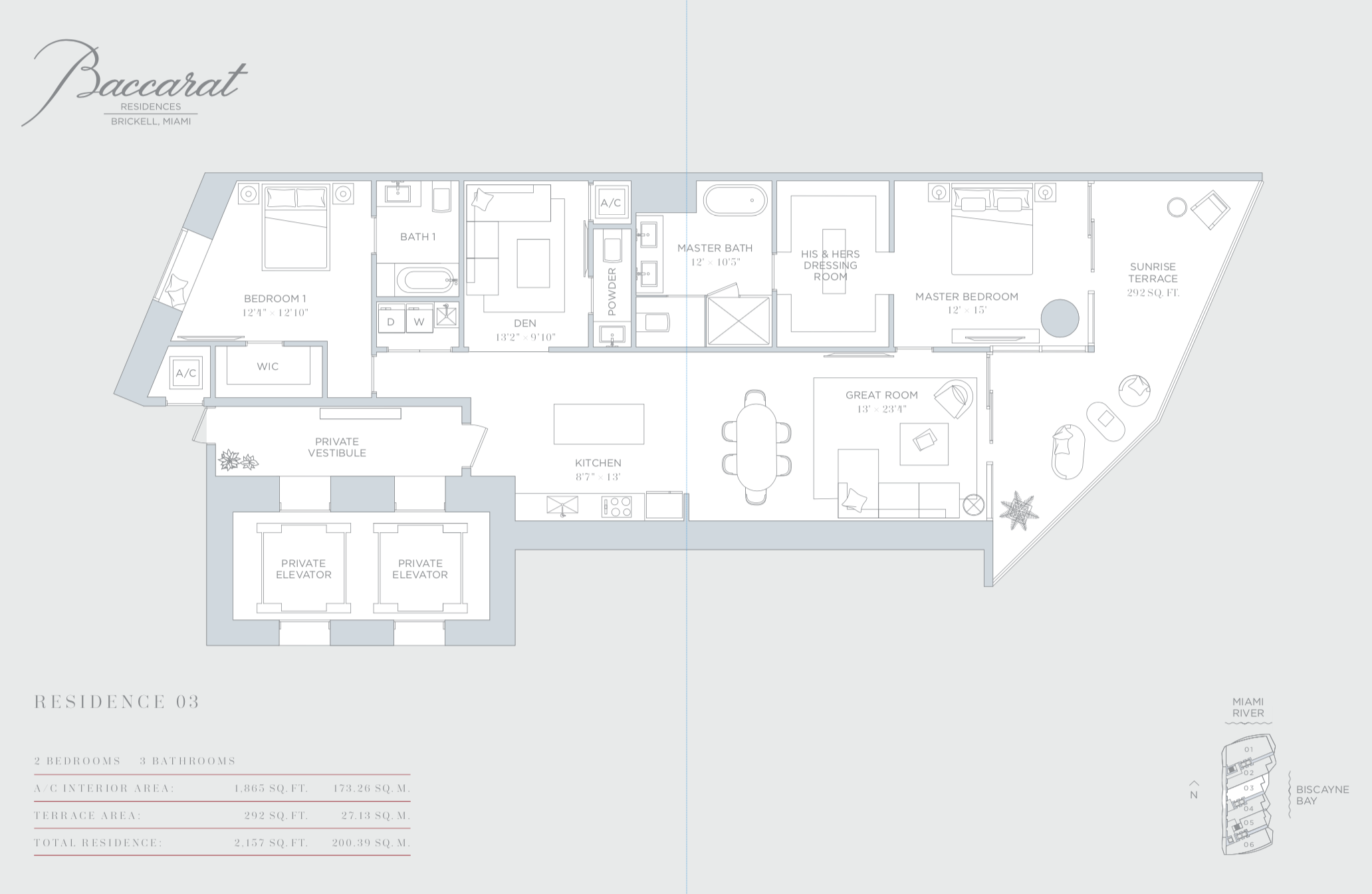 Baccarat | Residence 03 | 2 Bedrooms| 1,865 SF