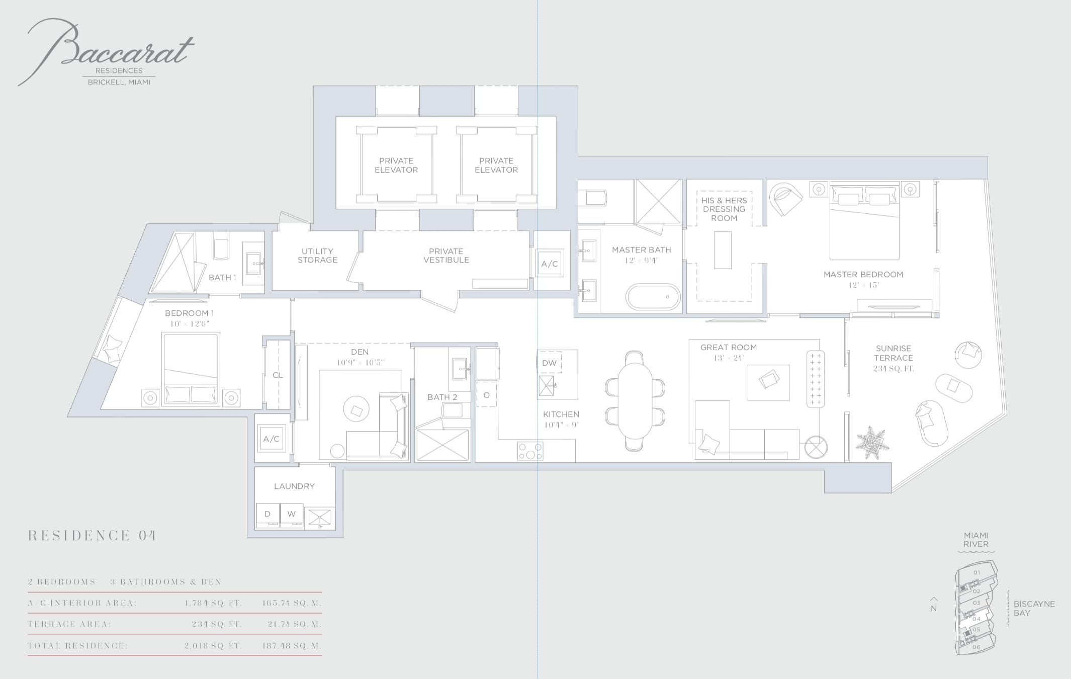 Baccarat | Residence 04 | 2 Bedrooms + Den | 1,784 SF