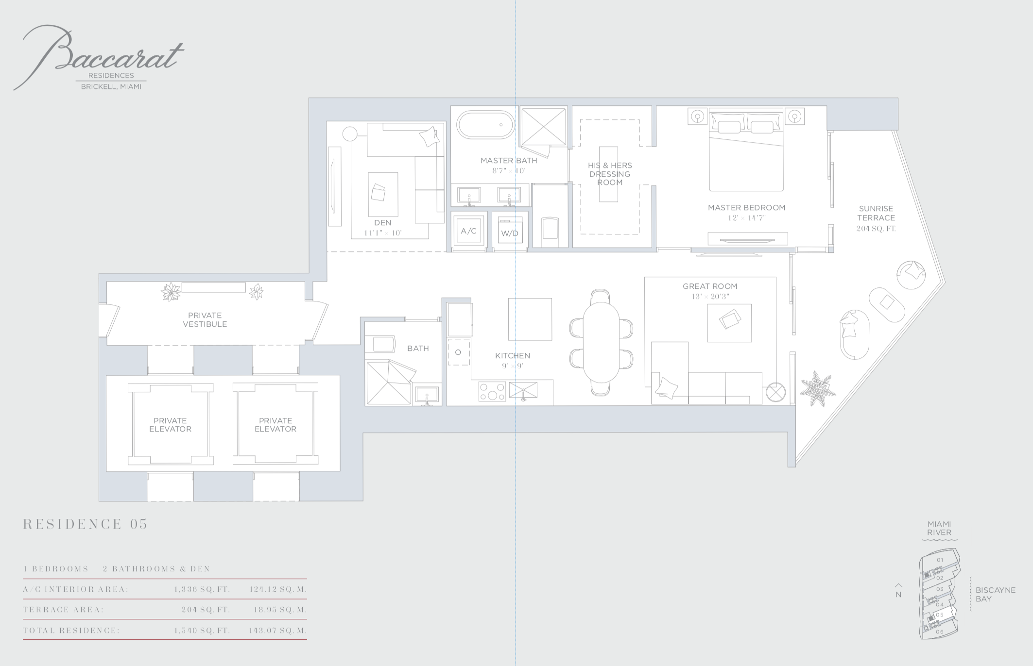 Baccarat | Residence 05 | 1 Bedroom + Den | 1,336 SF