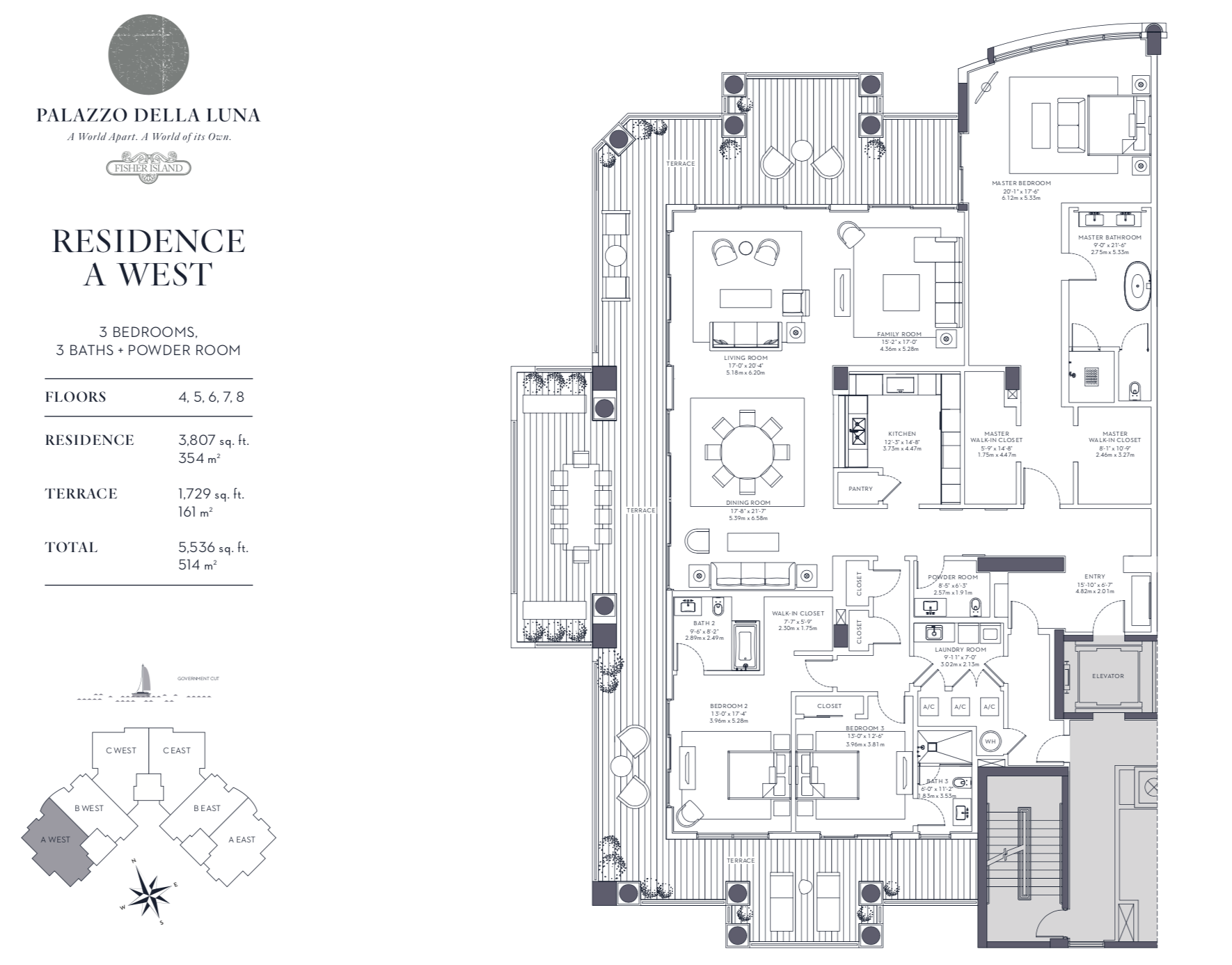 Palazzo della Luna| Residence A West Floors 4,5,6,7 and 8