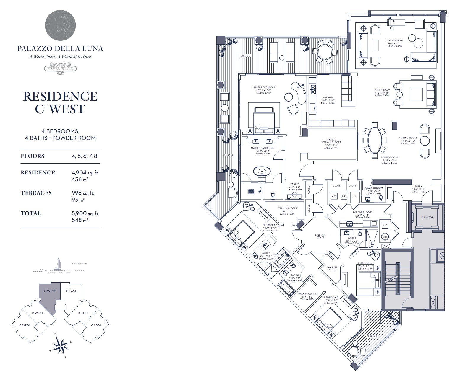 Palazzo della Luna| Residence C West Floors 4,5,6,7 and 8