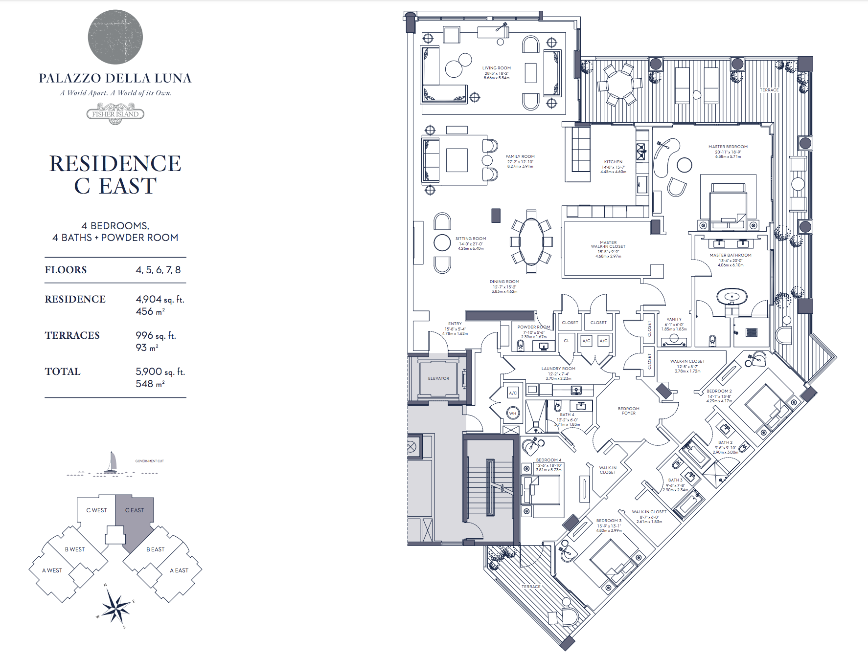 Palazzo della Luna| Residence C East Floors 4,5,6,7 and 8