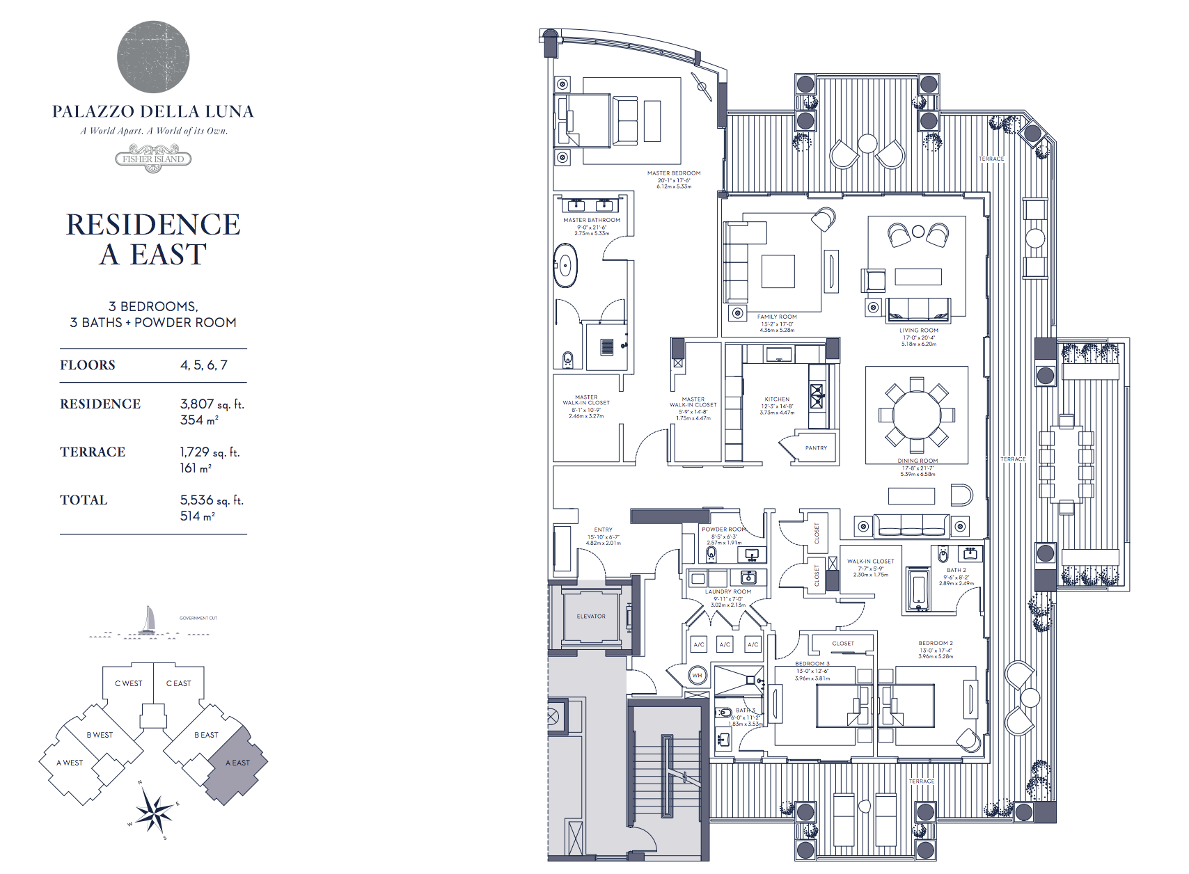 Palazzo della Luna| Residence A East Floors 4,5,6 and 7