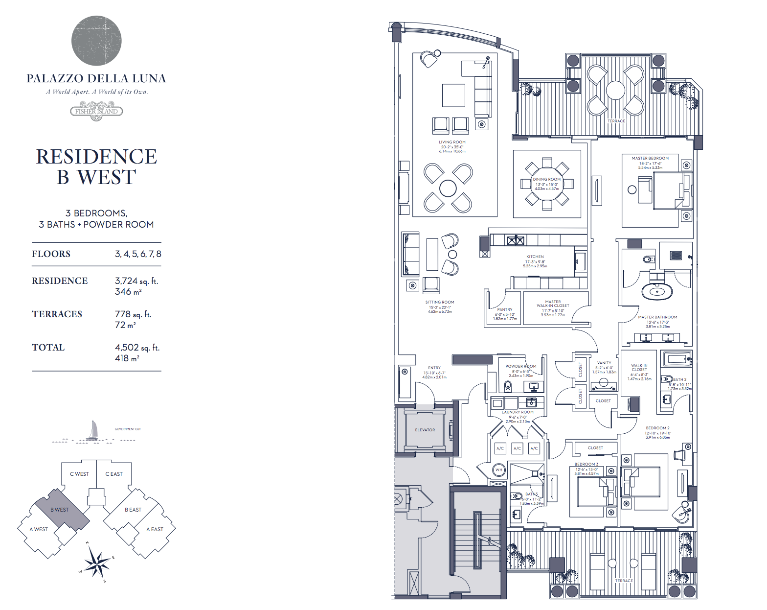 Palazzo della Luna| Residence B West Floors 3, 4,5,6,7 and 8