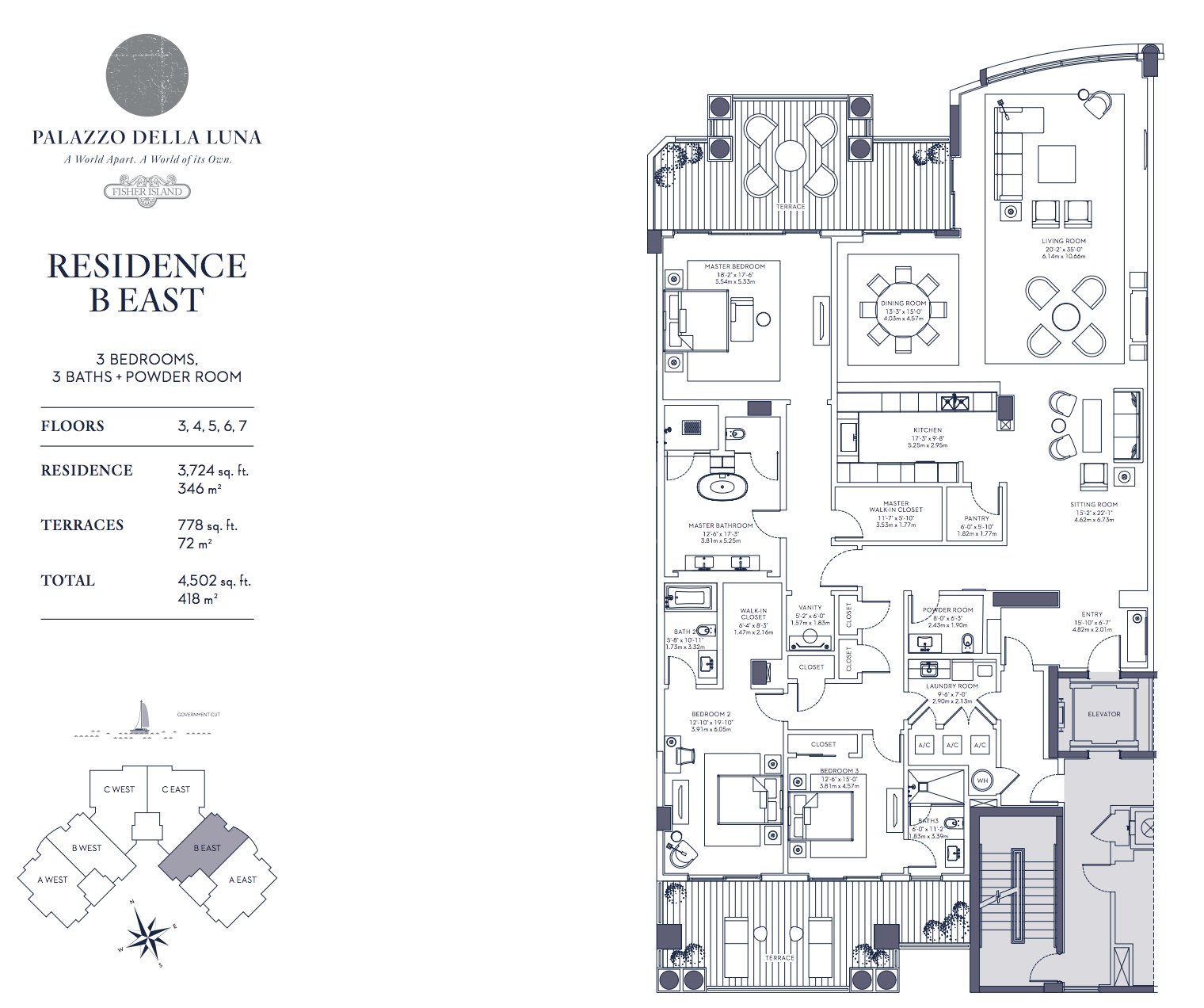 Palazzo della Luna| Residence B East Floors 3,4,5,6 and 7