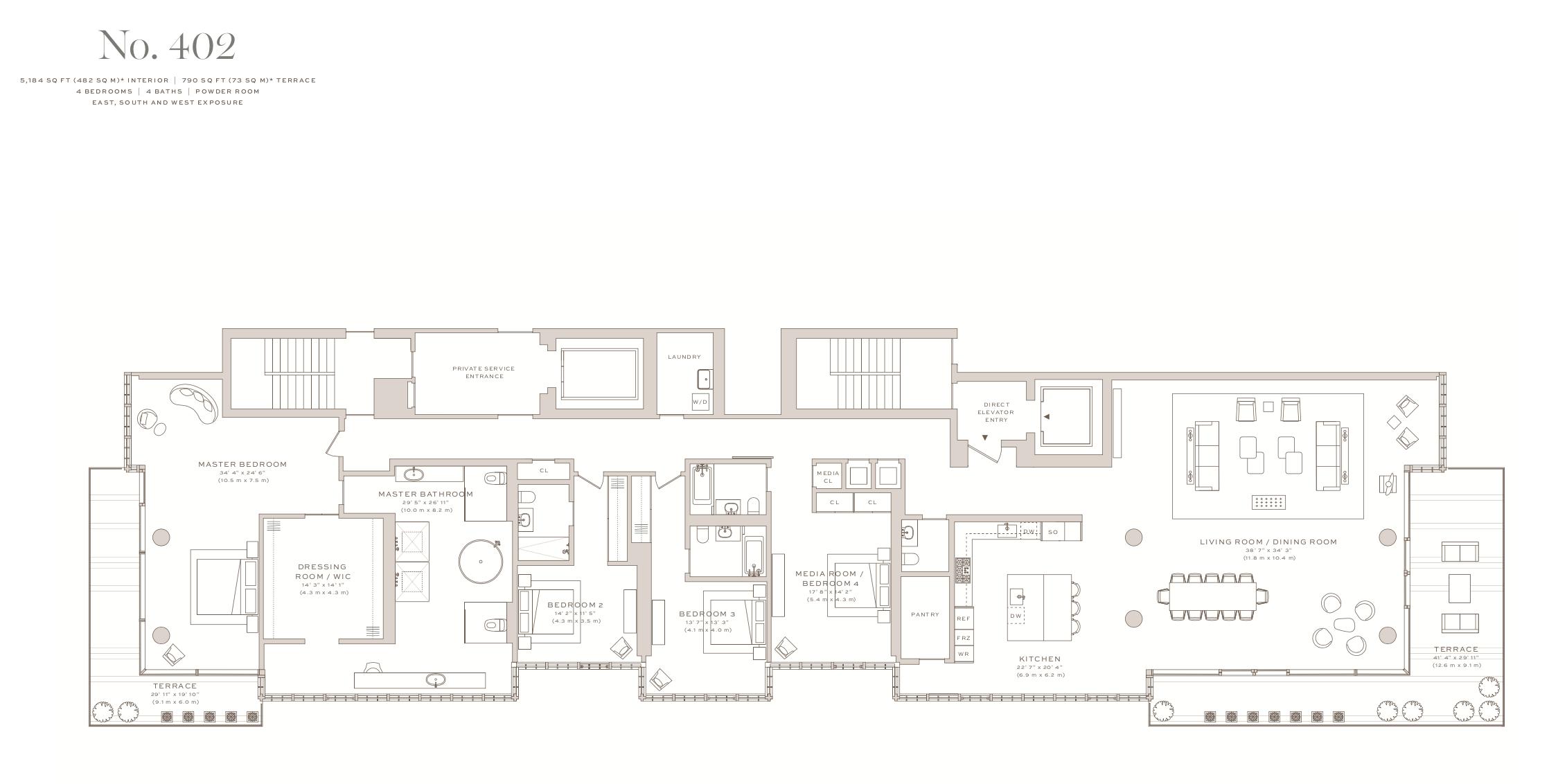 Arte Surfside | Residence 402 | 4 Bedrooms |5,184 SF