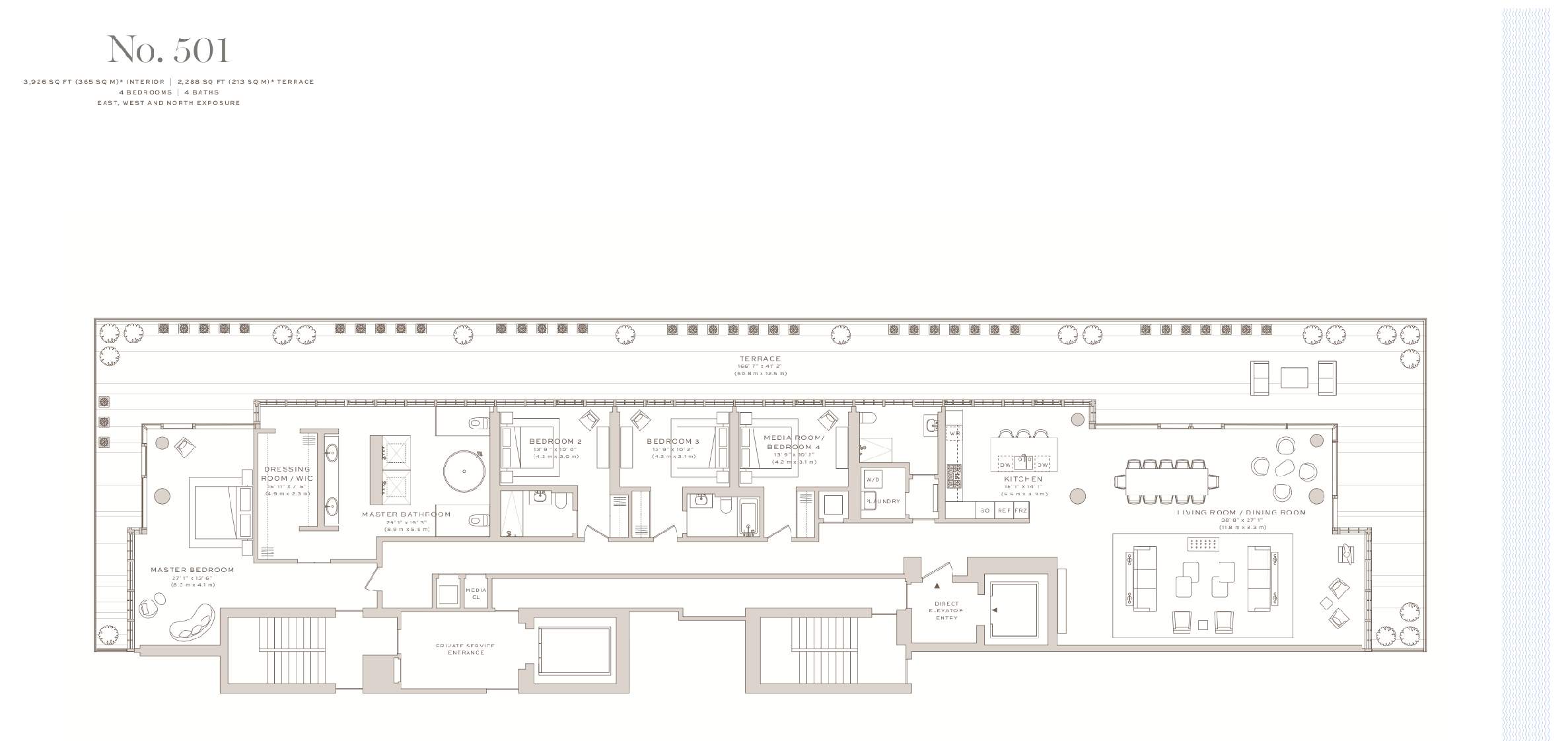 Arte Surfside | Residence 501| 4 Bedrooms |3,926 SF SF