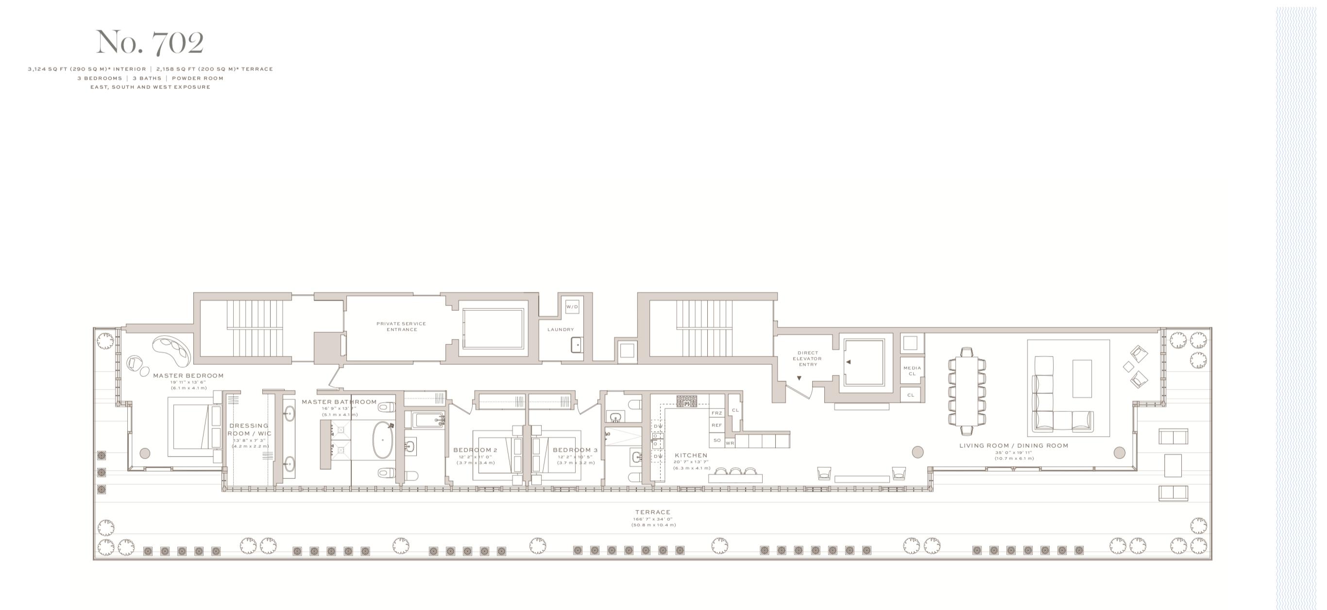 Arte Surfside | Residence 702| 3 Bedrooms |3,124 SF SF