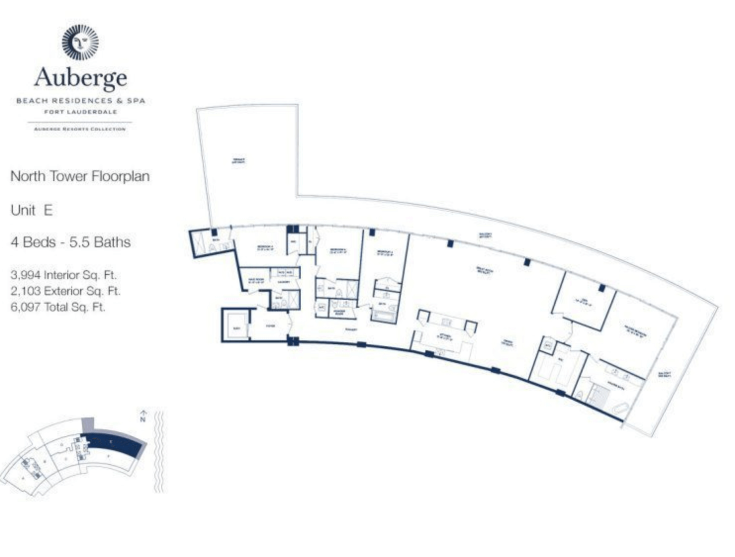 Auberge Beach Residences North Tower E | 4 Beds - 5.5 baths