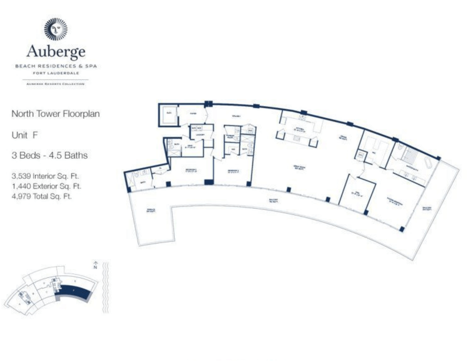 Auberge Beach Residences North Tower F | 3 Beds - 4.5 baths