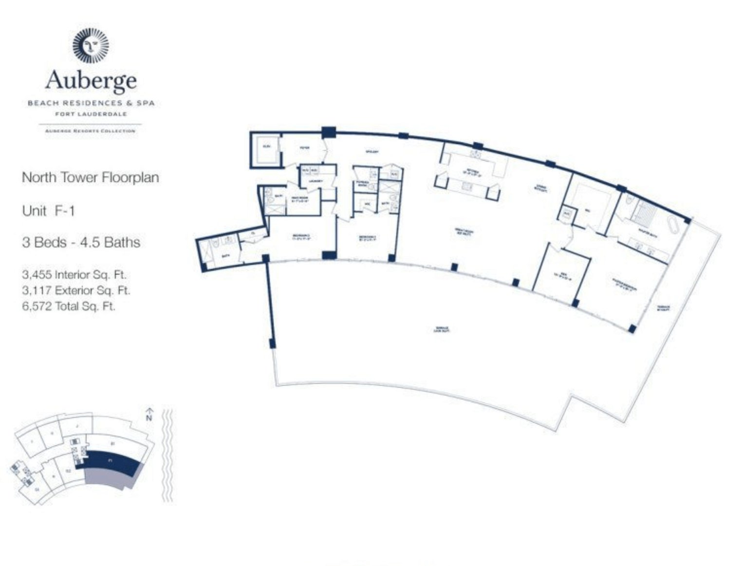 Auberge Beach Residences North Tower F1 | 3 Beds - 4.5 baths