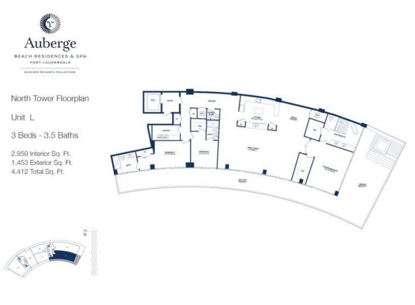 Auberge Beach Residences North Tower L | 3 Beds - 3.5 baths