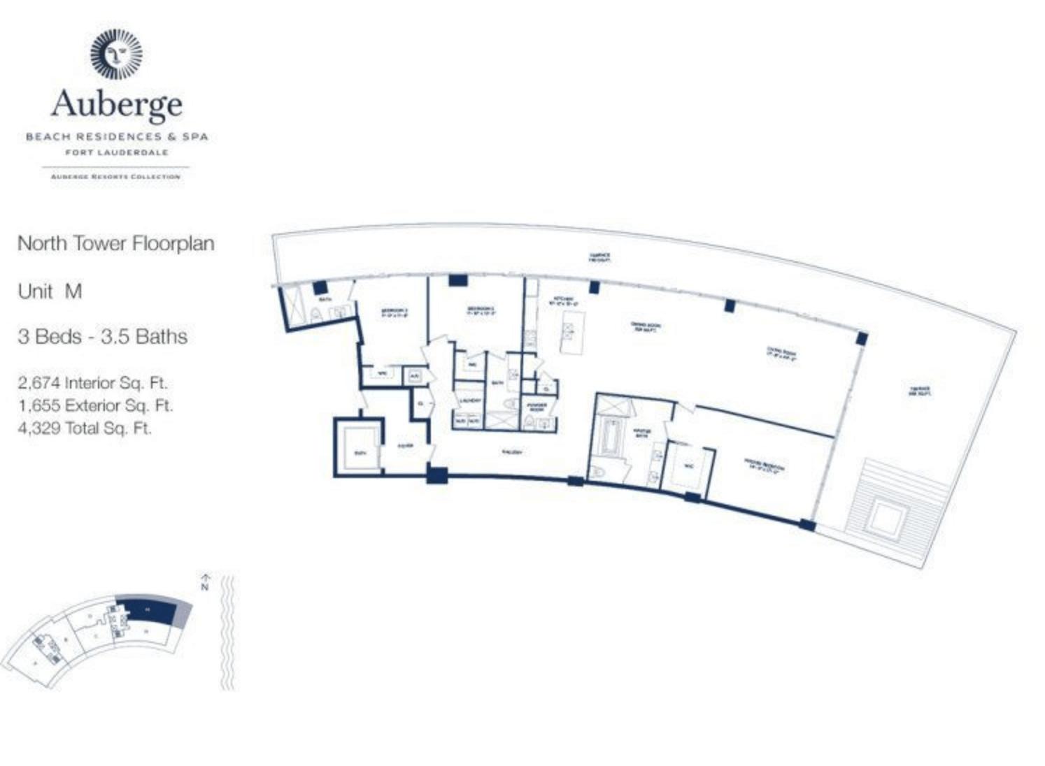 Auberge Beach Residences North Tower M | 3 Beds - 3.5 baths