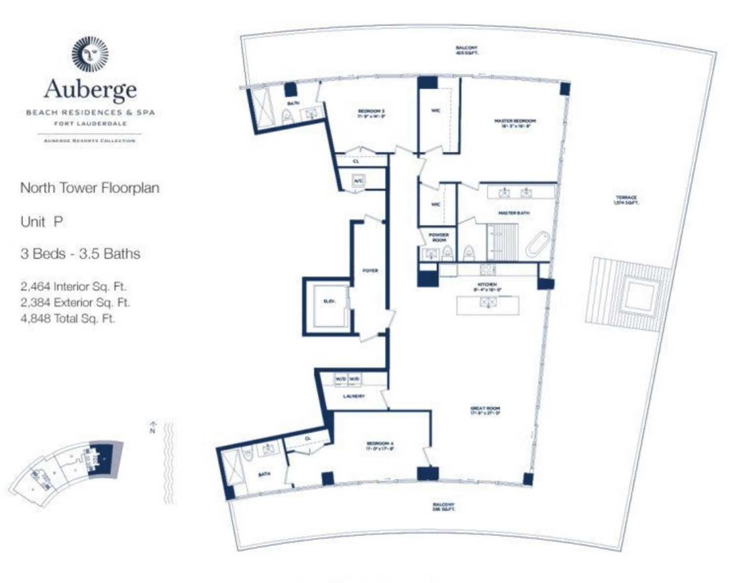 Auberge Beach Residences North Tower P | 3 Beds - 3.5 bathsAuberge Beach Residences North Tower P | 3 Beds - 3.5 baths