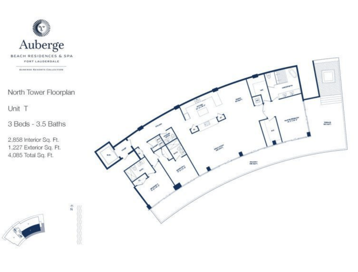 Auberge Beach Residences North Tower T | 3 Beds - 3.5 baths