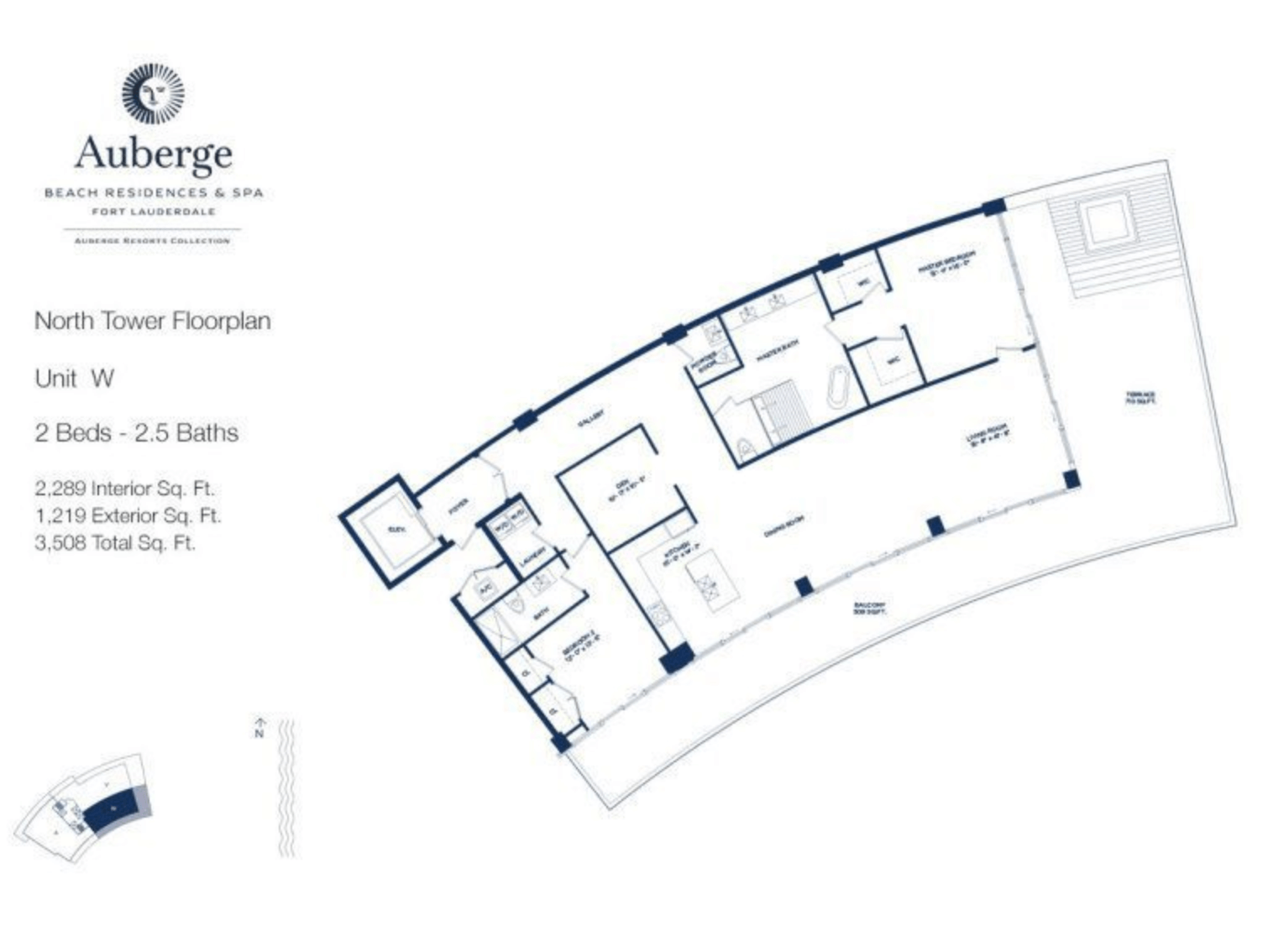 Auberge Beach Residences North Tower W | 2 Beds - 2.5 baths