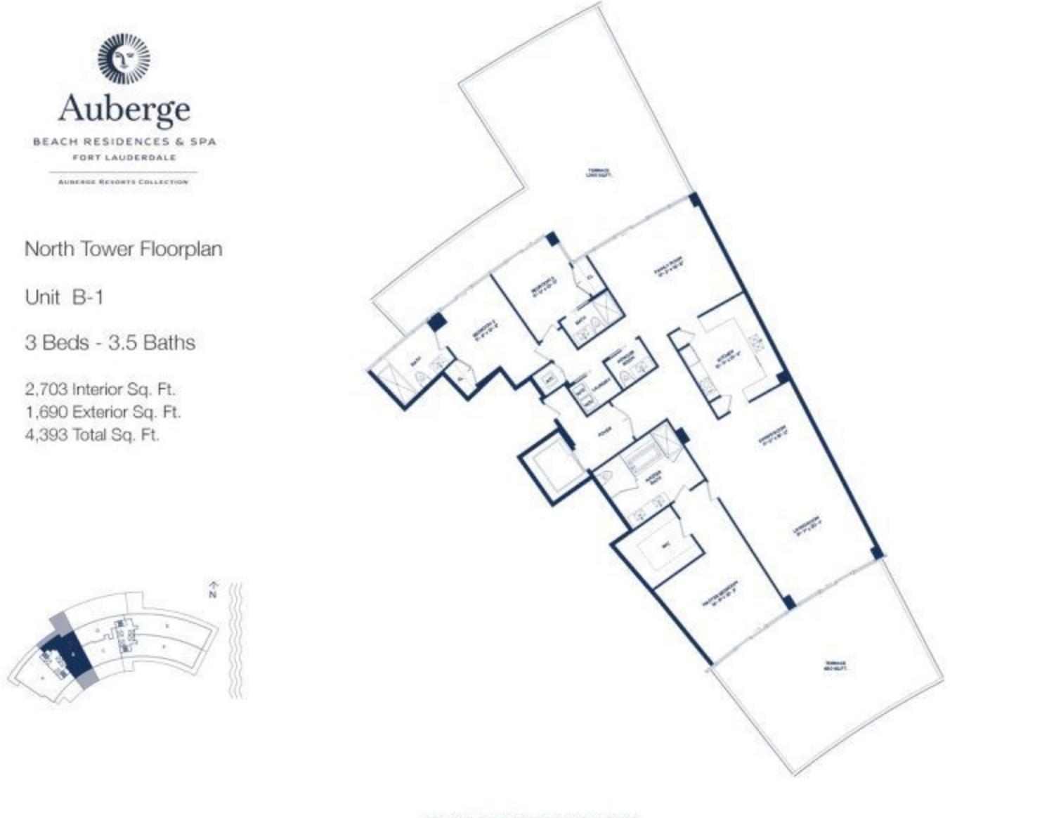 Auberge Beach Residences North Tower B1 | 3 Beds - 3.5 baths