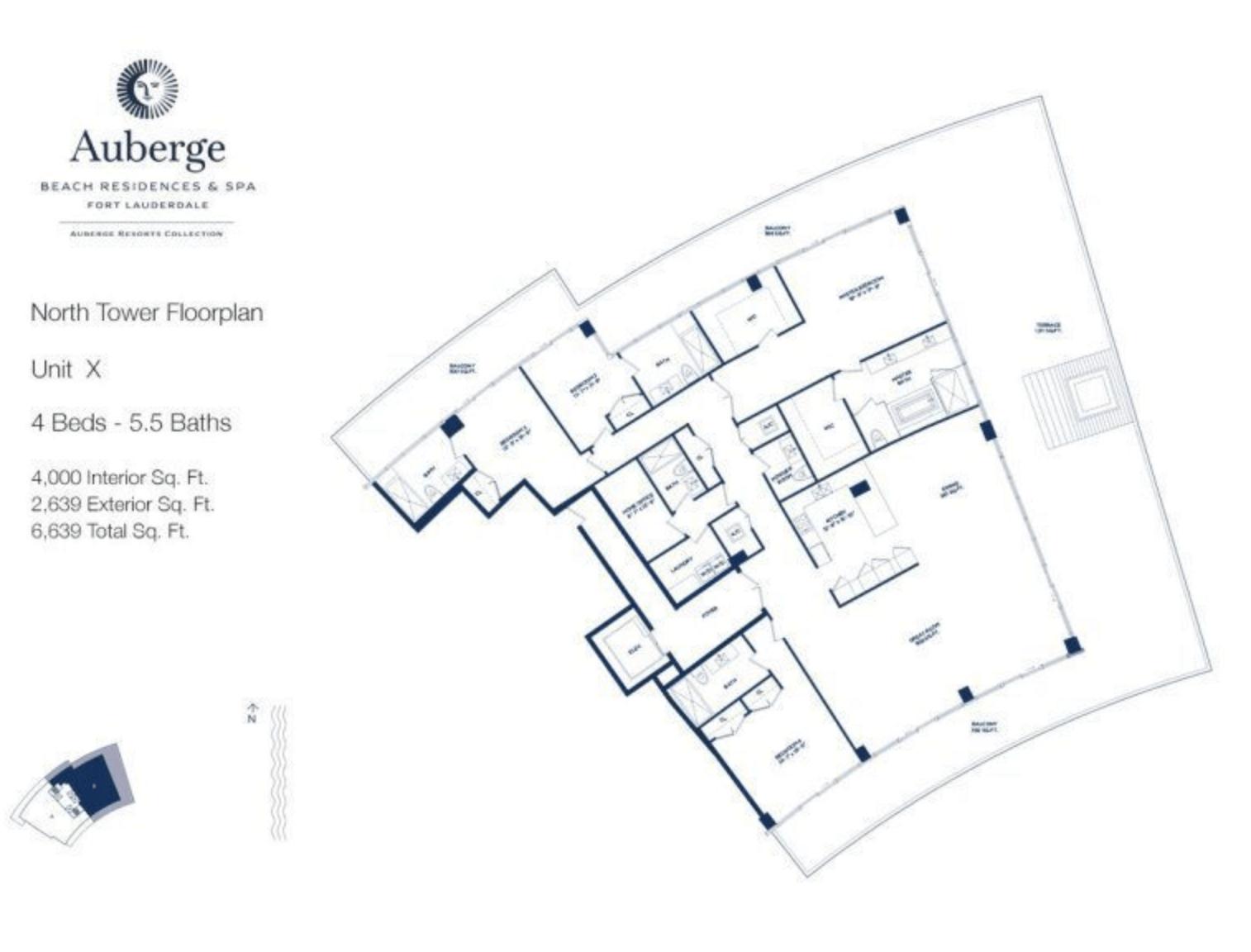 Auberge Beach Residences North Tower X | 4 Beds - 5.5 baths