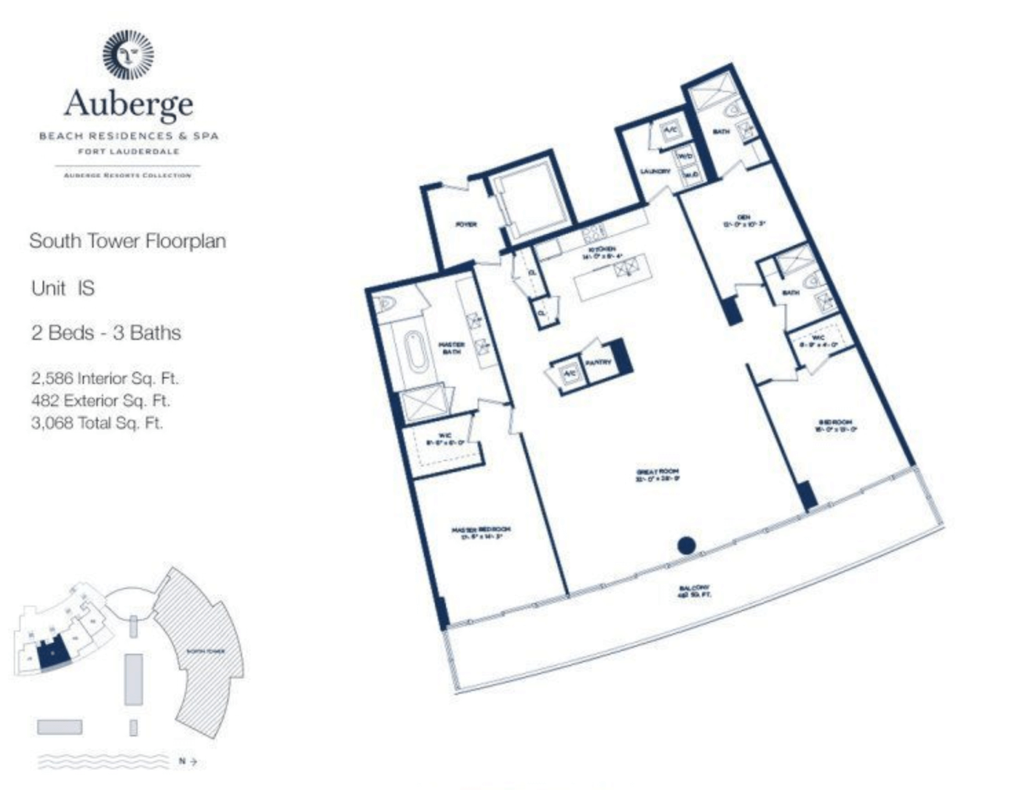 Auberge Beach Residences South Tower IS | 2 Beds - 3 baths