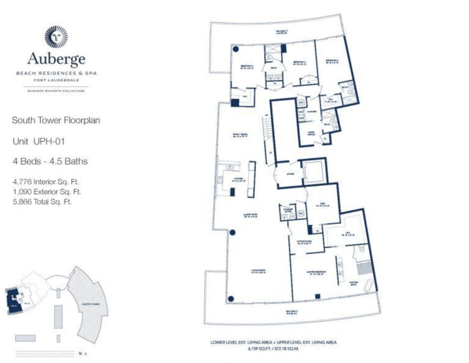 Auberge Beach Residences South Tower UPH 01 | 4 Beds - 4.5 baths