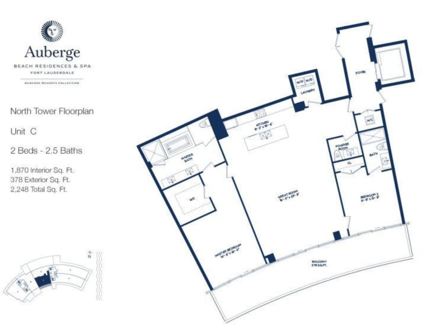 Auberge Beach Residences North Tower C | 2 Beds - 2.5 baths
