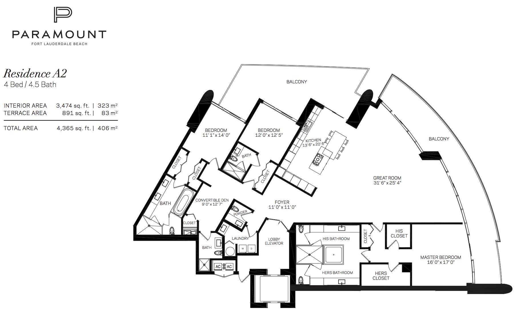 Paramount Residences Fort lauderdale Unit A2   4 Beds - 4.5Baths