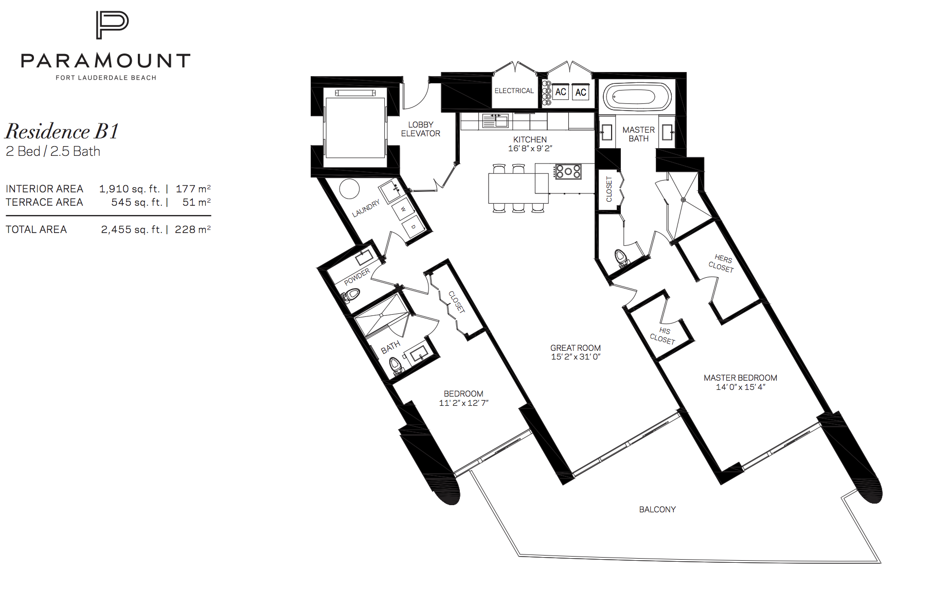 Paramount Residences Fort lauderdale Unit B1   2 Beds - 2.5 Baths