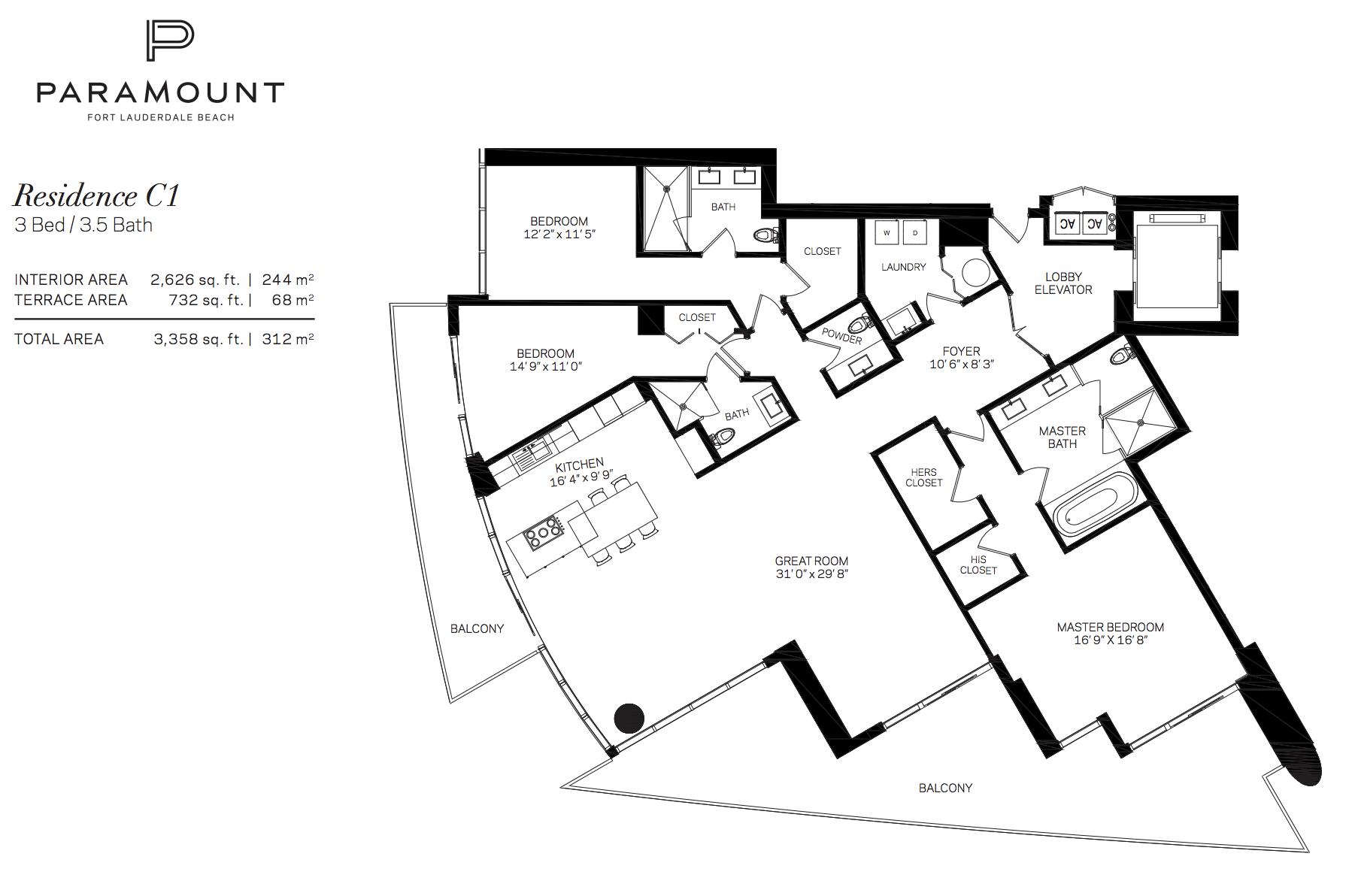 Paramount Residences Fort lauderdale Unit C1   3 Beds - 3.5 Baths