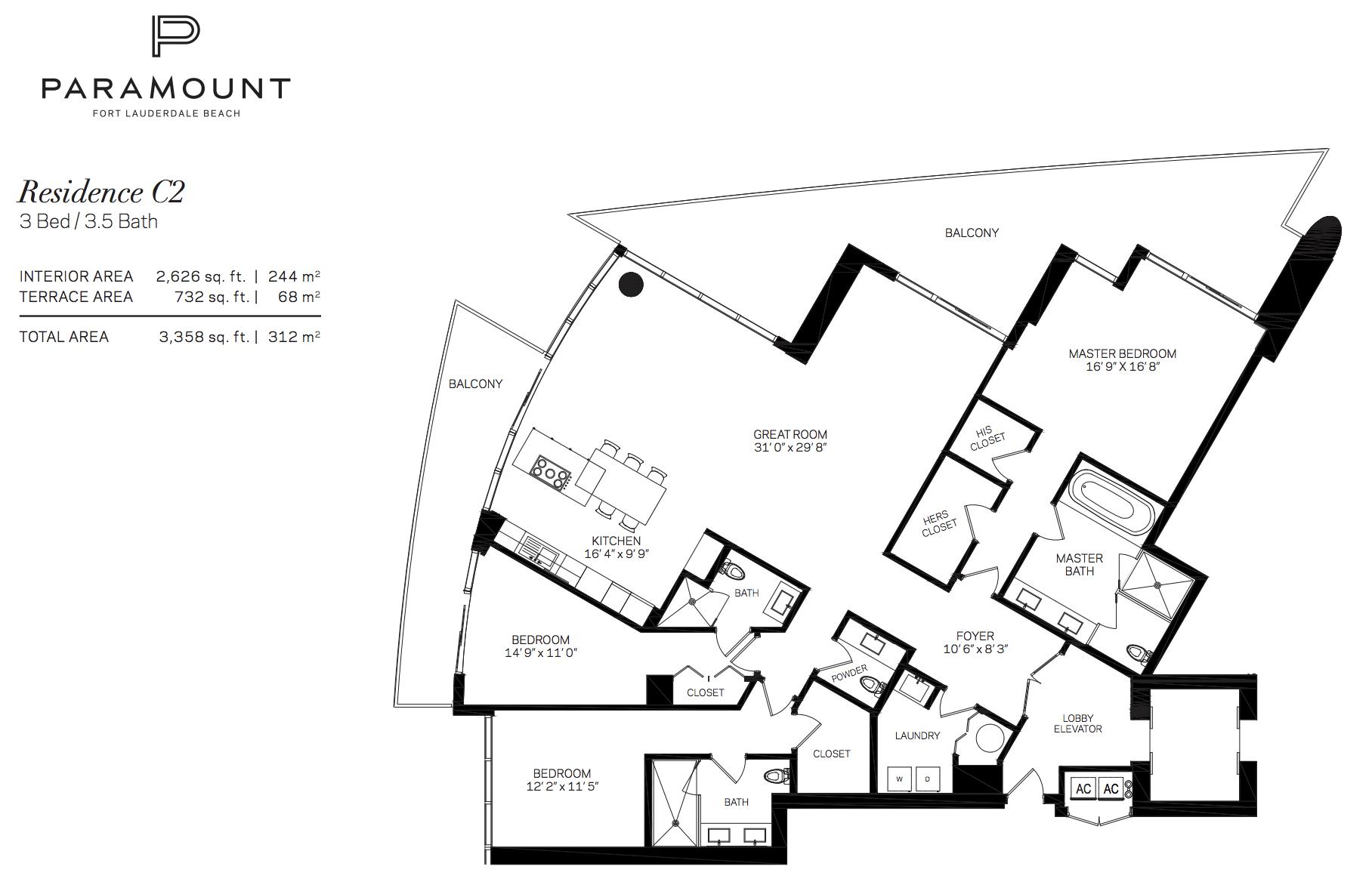 Paramount Residences Fort lauderdale Unit C2   3 Beds - 3.5 Baths