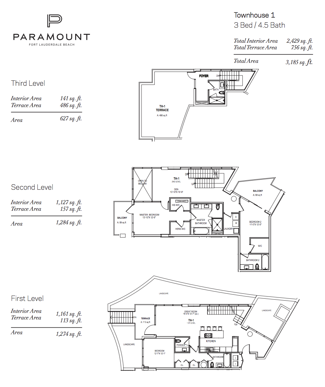 Paramount Residences Fort lauderdale Townhouse 1 | 3 Beds - 4.5 Baths