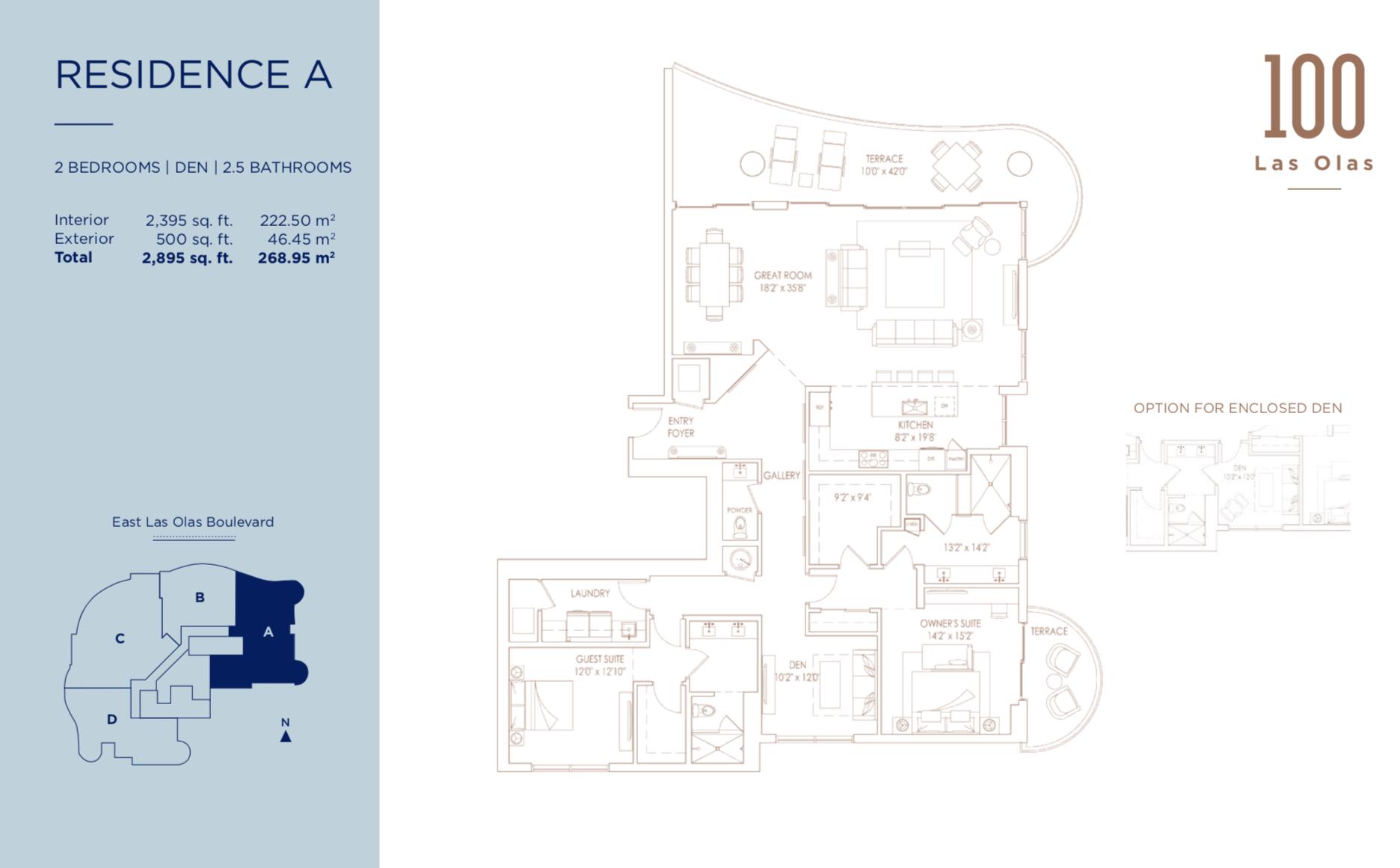 100 Las Olas Fort Lauderdale | Residence A  | 2 Beds + Den | 2.5 Baths