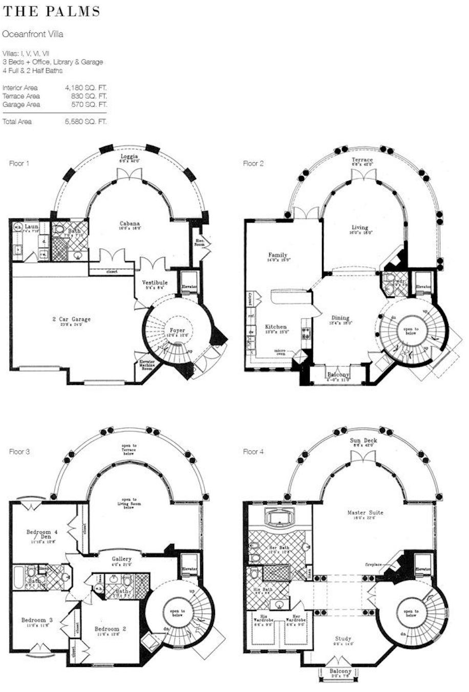 The Palms | Floor Plan of Ocean front Villa