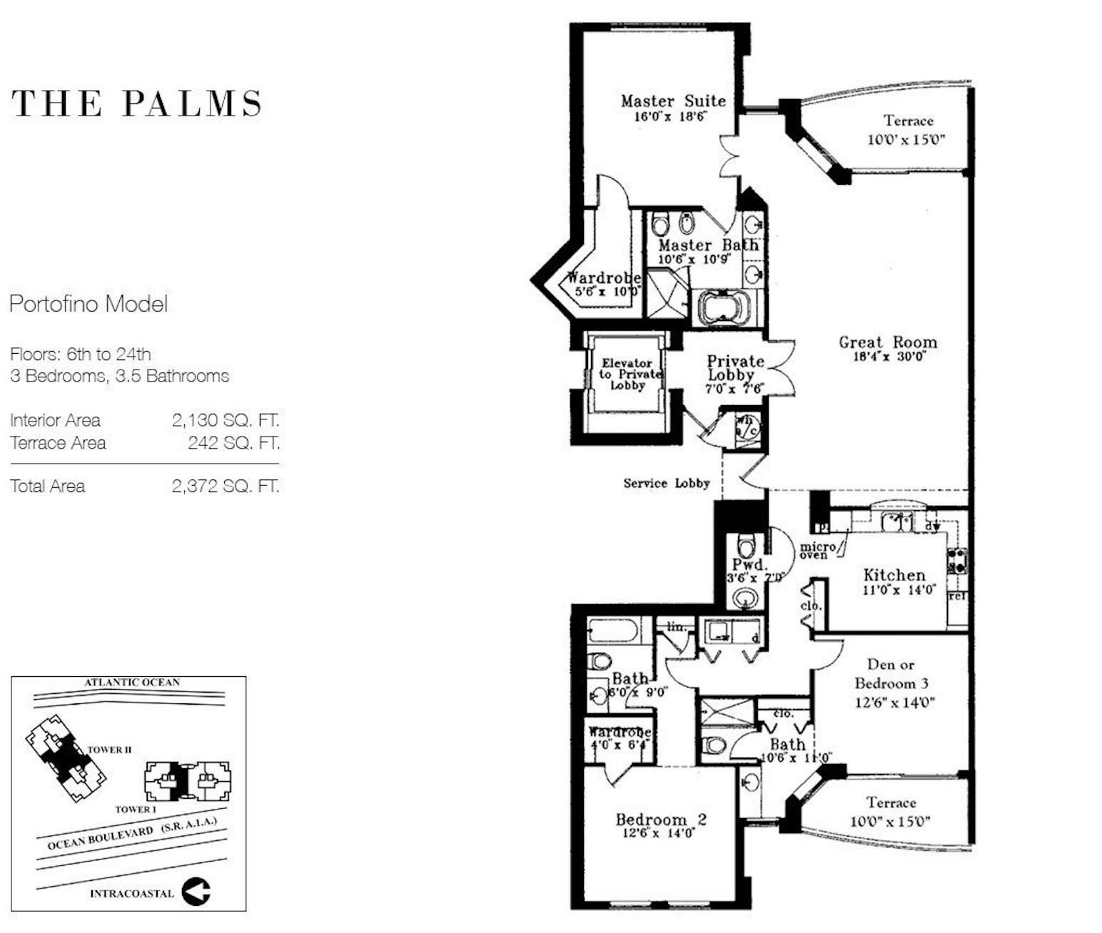 The Palms Fort Lauderdale | Floor Plan Portofino