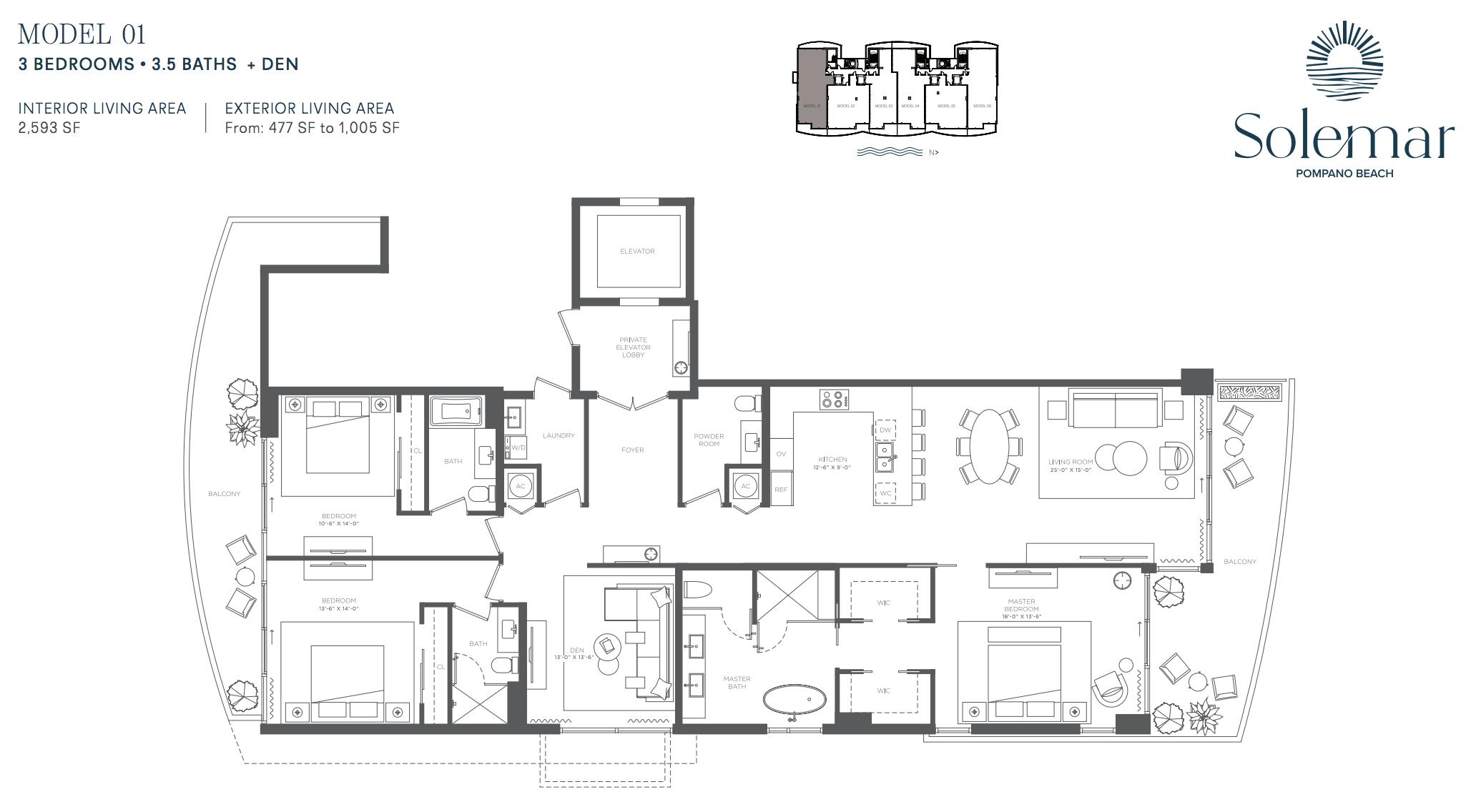 Solemar | Floor Plan 01 | 3 Be + Den | 3,5 Ba