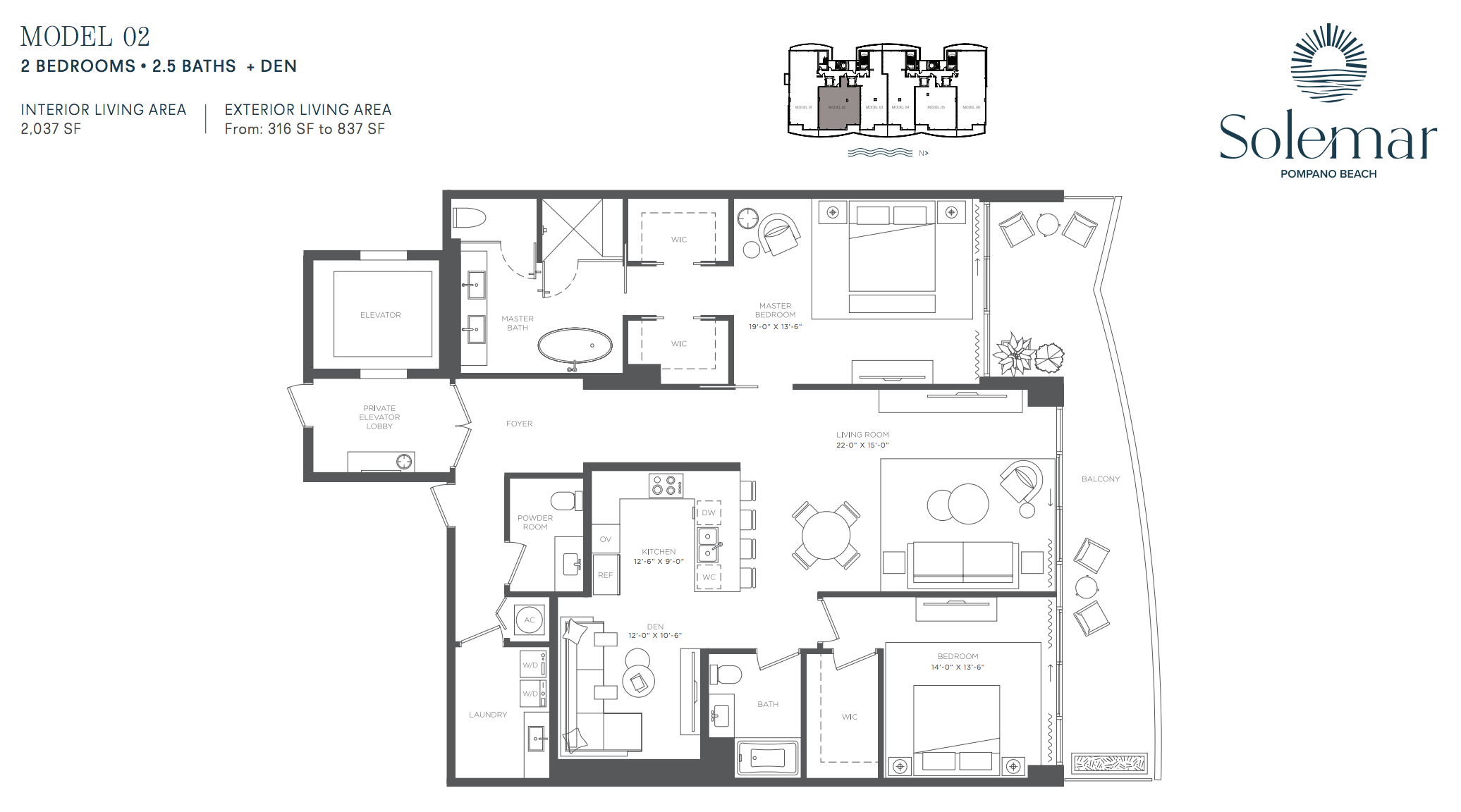 Solemar | Floor Plan 02 | 2 Be + Den | 2,5 Ba