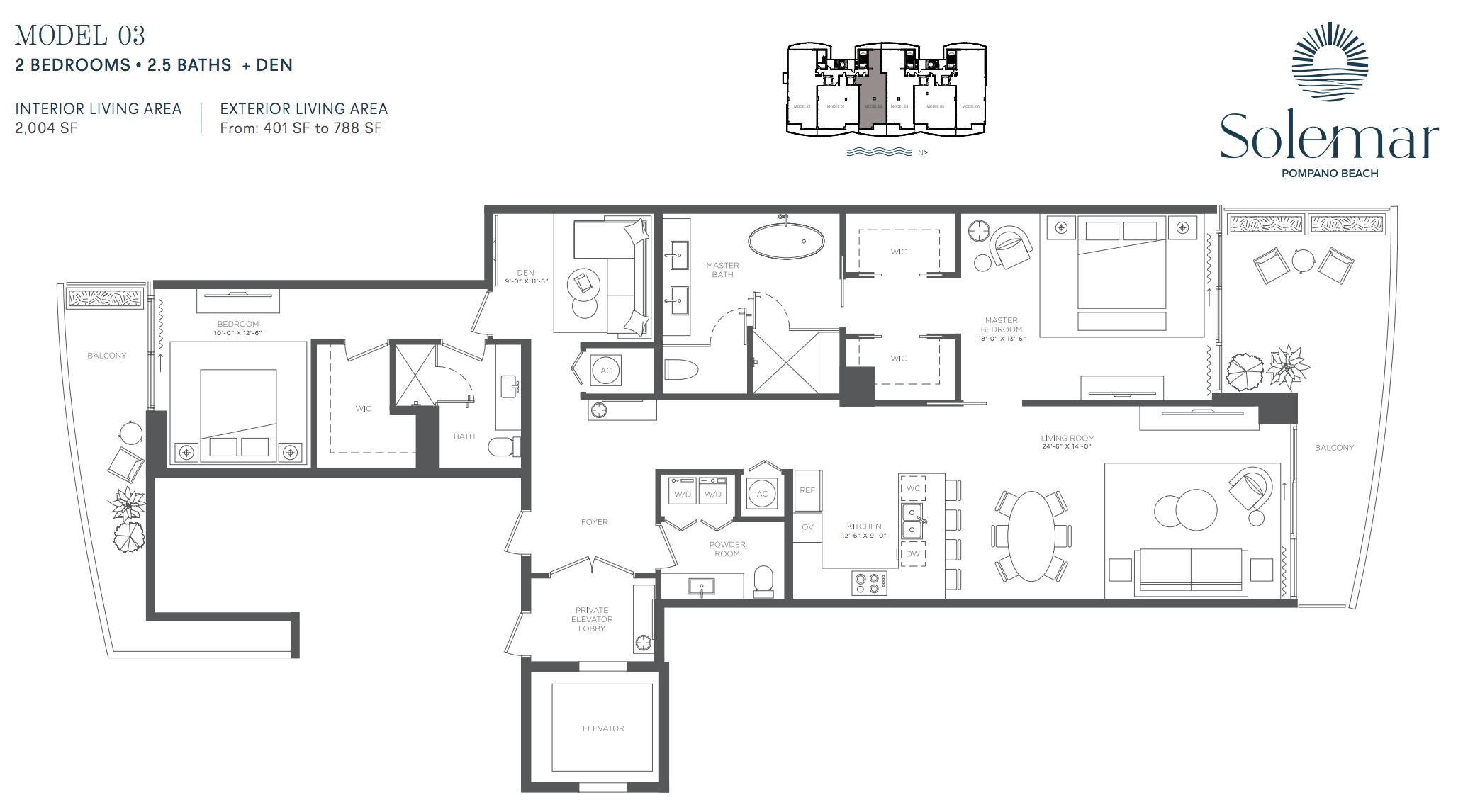 Solemar | Floor Plan 03 | 2 Be + Den | 2,5 Ba