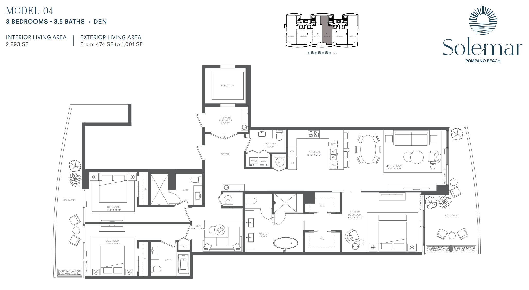 Solemar | Floor Plan 04 | 3 Be + Den | 3,5 Ba