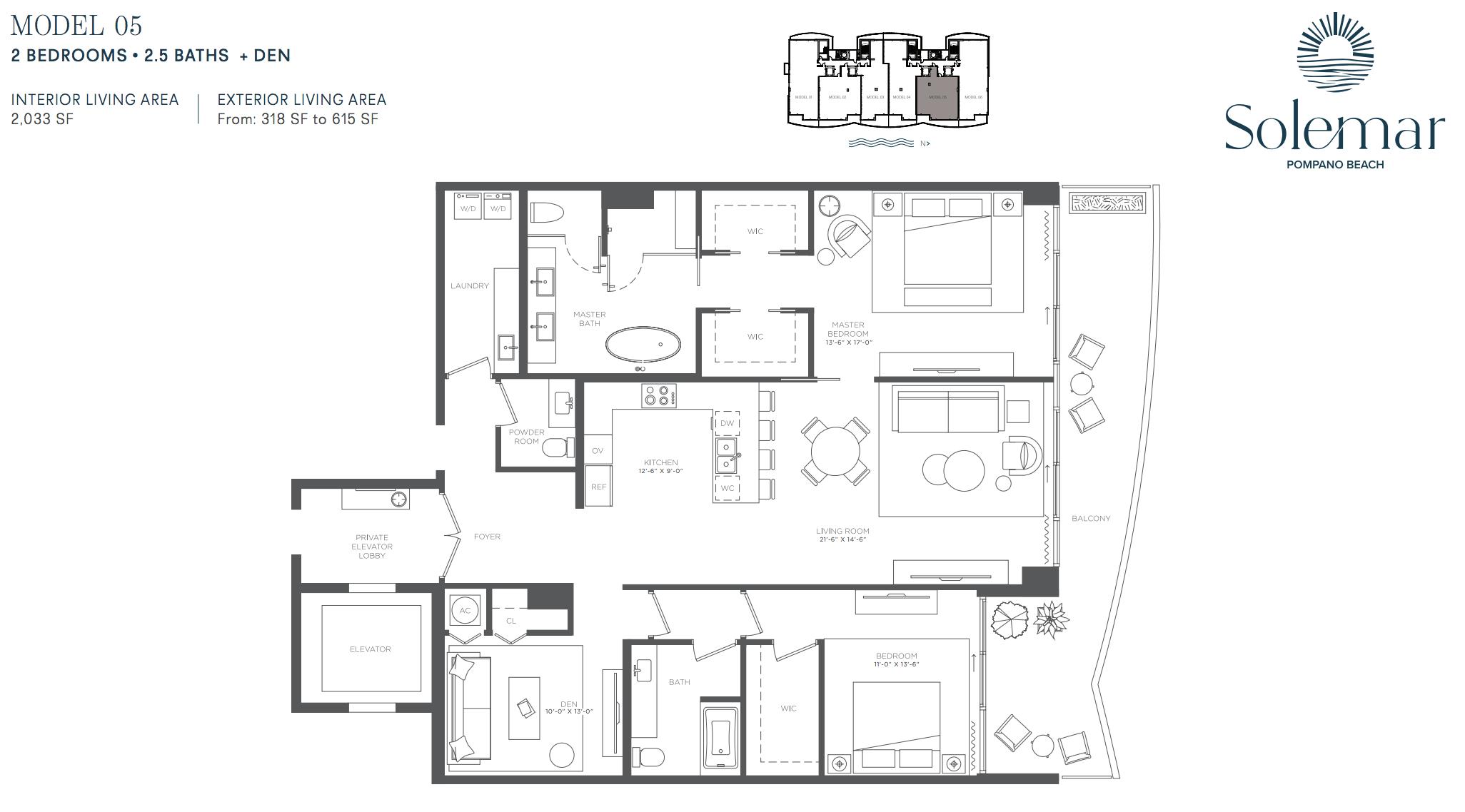 Solemar | Floor Plan 05 | 2 Be + Den | 2,5 Ba