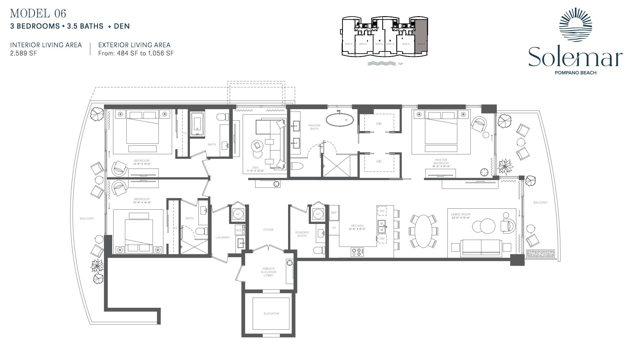 Solemar | Floor Plan 06 | 3 Be + Den | 3,5 Ba